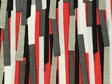 Fabric Stripes Red Black Staggered on White Cotton 1/4 Yard