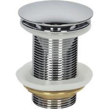 """Bathroom Basin Clicker Waste Plug Unslotted 1 1/4"""" Chrome Flat Mushroom Style"""