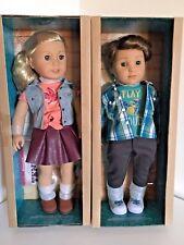 "NIB American Girl Tenney Grant Doll 18"" +Book+Wooven Bracelet + Logan 18"" Doll"