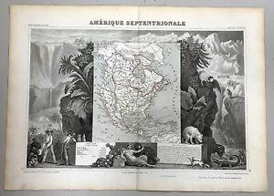 AMERIQUE SEPTENTRIONALE by  LEVASSEUR GENUINE  ANTIQUE MAP