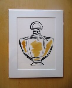 ORIGINAL ART - Yellow perfume bottle illustration watercolour with mat board