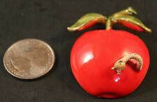 Apple with worm pin brooch teacher Vtg 1960s signed Original by Robert enamel