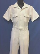 USN- NEW CNT WHITE UNIFORM ( 100% POLYESTER) SHIRT SIZE L,PANTS 35, 36R OR 37R