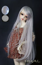 "6-7"" 1/6 BJD Long Straight Smoky Silver Wig LUTS Doll SD DZ DOD MSD Hair UAL#"