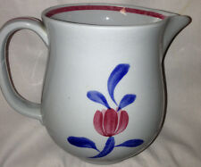UPSALA EKEBY GEFLE ELDO CREAMER OR SMALL PITCHER BLUE RED FLOWER BLUE BACKGROUND
