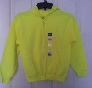 Childs Neon Green Zip Front Fleece Hoodie Size (M-L-XL) Pockets 50/50 Gildan NWT