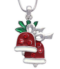 Red Jingle Bell Pendant Necklace Girl Women Fashion Jewelry Christmas Gift n44