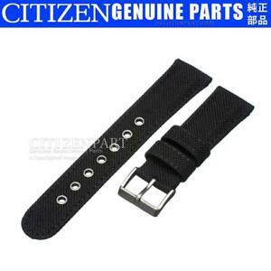 Citizen 22mm Watch Band Eco-Drive BV1085-06E CA0255-01E Black Nylon Canvas Strap