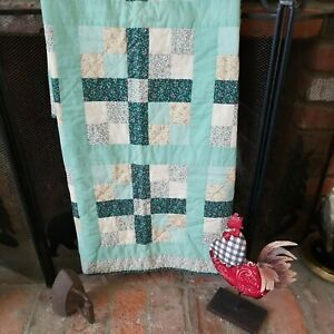 """Vintage Handmade Square Patchwork Crib~Lap Quilt Green Yellow Calico 40""""x52"""""""