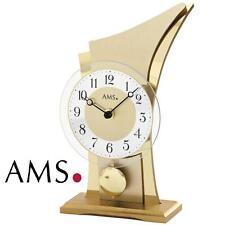 AMS Tischuhr 1137 Pendeluhr Holzgehäuse mit Messing-applikationen