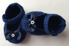 Hand Knitted Baby Booties/shoes 3-6 Months Navy Blue With Bows