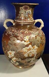 Large Signed Kinkozan Antique Japanese Meiji Satsuma Vase