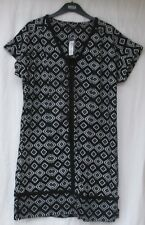 LADIES MARKS AND SPENCER BLACK AND WHITE LINEN RICH PATTERNED DRESS SIZE 12