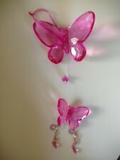 Vintage Hot Pink Beaded Butterfly Butterflies Hanging Decoration Rare Unique New