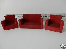 VINTAGE DOLLS HOUSE RED Suite DIVANO + 2 POLTRONE ART DECO STILE venduto come si vede M26
