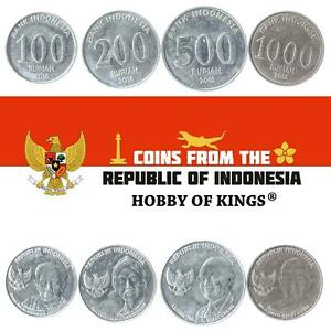 SET OF 4 COINS FROM INDONESIA. 100, 200, 500, 1000 RUPIAH. 2016 INDONESIAN MONEY