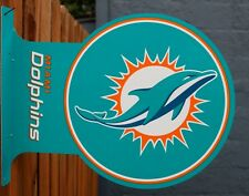 Double Sided Miami Dolphins Flange Tin Metal Sign NFL Football Team Sports G99