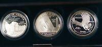 1994 US Veterans Commemorative 3 Coin Silver Dollar Proof Set US Mint Box COA