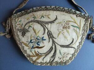 18th c embroidered silk reticule  with metal thread trimmings flowers and leaves