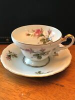 Aladdin Tea Cup & Saucer Cabbage Rose Pattern Fine Bone China Made In Japan
