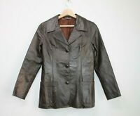 Women's Vintage 70's Brown Real Soft Leather Blazer Retro Jacket Size M
