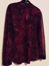 chicos 0 Dark Red Burgundy Colored Mesh/ Velvet Sheer Blouse Long Sleeved.