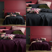 3 Pcs Coco Velvet Black Purple Quilted Waffle Coverlet Bedspread Set  Queen King