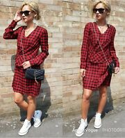ZARA NEW RED CHECK DRESS DRAPED KNOTTED ABOVE KNEES DRESS SIZE S UK 8