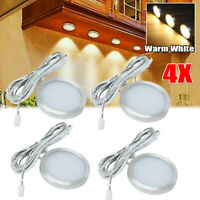 4pcs Under Cabinet LED Lighting Hardwired Kitchen Warm White Puck Lights Wired