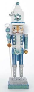 Kurt Adler Hollywood Collection Turquoise and White Nutcracker  Holiday Figurine