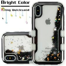 FOR IPHONE X 10 ELECTROPLATING BLACK SPARKLES QUICKSAND GLITTER TUFF CASE COVER