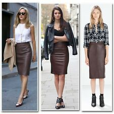 New Brown Faux Leather Soft  Knee Length Pencil Skirt size 6-14