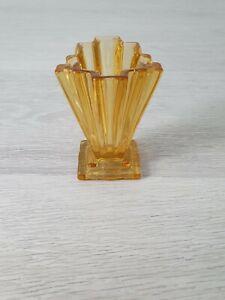 """*Vintage* Bagley Glass Art Deco Amber Vase. """"Grantham"""" Pattern."""