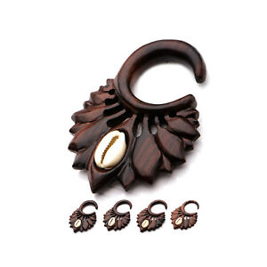 PAIR-Tapers Hangers Wood Narra w/Shell on Flower 10mm/00 Gauge Body Jewelry
