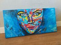 """Oeuvre Originale de DL """" ÉMOTION"""" Peinture main (Obey, Banksy, invader, c215)"""