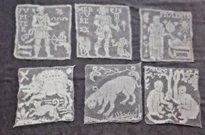 6 Interesting FILET LACE inserts: Ptolemy, Mercury, Jupiter, Monkeys, Dogs, Boar