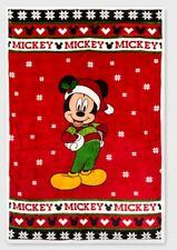 "DISNEY Santa MICKEY MOUSE Christmas SUPER SOFT Plush Blanket Throw 60""X90"" GIFT"