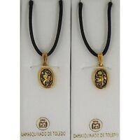Damascene Gold Dove of Peace Design Oval Pendant Necklace by Midas Toledo Spain