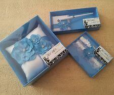 Wedding*Ring Pillow*Double Garter Set*Guest Pen*Blue*White*Rhinestones*Petals*