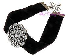 Vintage Baroque Burlesque Goth Moulin Gatsby Black Ribbon Floral Choker Necklace