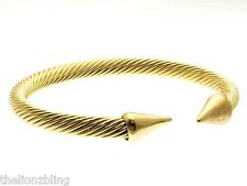 Urban Hip Hop Gold Cuff Bracelet Cable style with Spikes