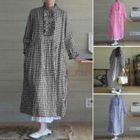 Womens Oversized Casual Loose Ruffled Check Plaid Kaftan Baggy Caftan Maxi Dress