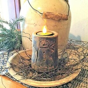 Primitive/Colonial Scented Blackened Beeswax Snowman Flicker Light Christmas