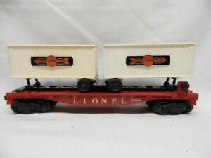 POSTWAR  LIONEL 3460 FLAT CAR WITH COOPER-JARRET VANS, C-7 EXCELLENT