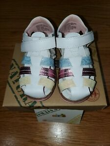 NWT BEEKO Toddler Girl's Shoe Style ZANNA WhitePinkYellowBlue -Size 8 US-EU 24