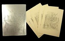 Two engraved metal plates & 5 prints;Old Book Shop (San Francsico) & snow scene