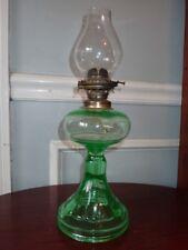 Antique Uranium Green Depression Glass Oil Lamp Anchor Chimney w/ Burner