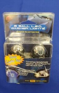 UNIVERSAL 8 BALL WINDSHIELD WASHER ACCENT LIGHT LIGHTS JET SPRAY NOZZLE BLUE LED