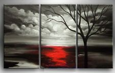 MODERN ABSTRACT CANVAS OIL PAINTING:Black white background red tree unframed