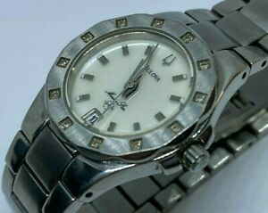 Bulova Marine Star Lady 30m 12 Real Diamonds Quartz Watch Hours~Date~New Battery
